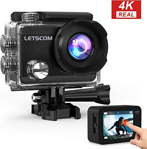 LETSCOM 4k60fps WiFi Action Camera Touch Screen Sports Cam 16MP Underwater Waterproof Video Recorder, 170 Ultra Wide Angle,HD Travel Vlog Camera with Helmet Accessories