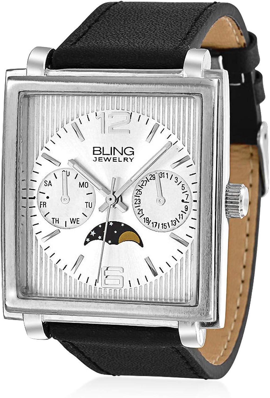 Bling Jewelry Fashion Cuadrado Marcado Estilo Cronógrafo con Fase Lunar Reloj Pulsera para Hombres Banda Cuero Negro Acero Tono Plata
