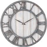 Oldtown Farmhouse Metal & Solid Wood Noiseless Wall Clock (Whitewash, 18-inch)