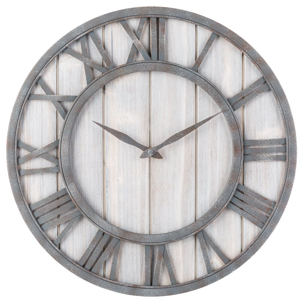 Farmhouse Style Metal & Whitewashed Wood Wall Clock