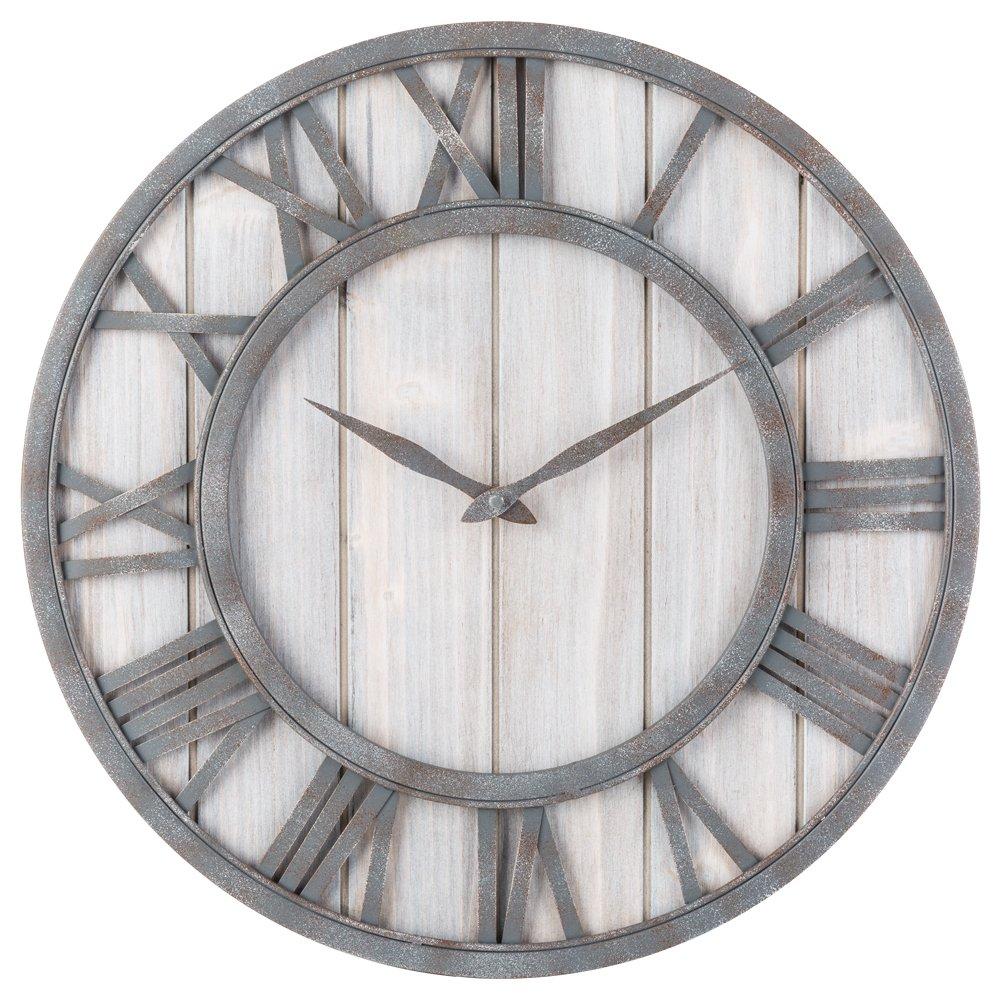 Farmhouse Style Metal & Whitewashed Wood Wall Clock