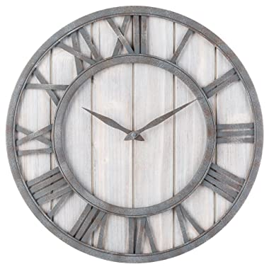 Oldtown Clocks OLDTOWN Farmhouse Metal & Solid Wood Noiseless Wall Clock (WhiteWash, 18-inch)