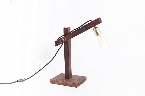 Lámpara de madera, lámpara edison, handmade, lámpara de mesa ...