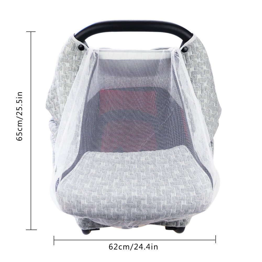 PROKTH Baby Stroller Gray Air Layer Mosquito Net, Sun Protection Sunshade Heat Insulation Cooling Polyester Cotton Cover Towel Sunshield by PROKTH (Image #5)