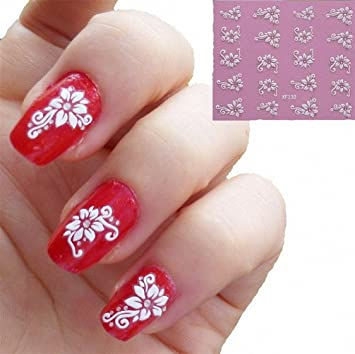 U Beauty 10sheets 3d Diamond White Flower Nail Art Stickers Decals Nails Tips For Womens