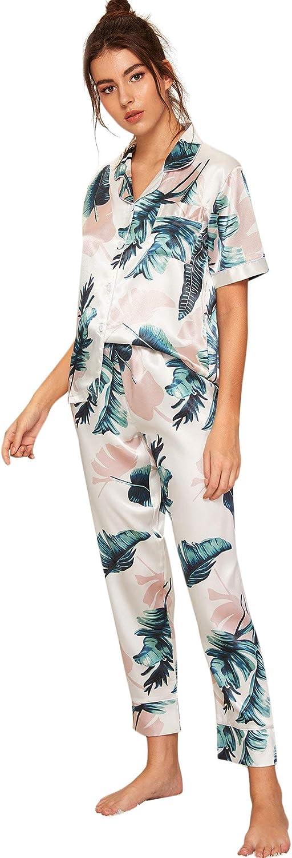 Floerns Women's Printed Two Piece Short Sleeve Sleepwear Long Pants Silk Pajamas Sets
