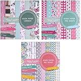 3 x Motivblock mit je 20 Blättern beidseitig bedruckt, Designpapier, Bastelpapier, 60 Blätter, 24 Designs