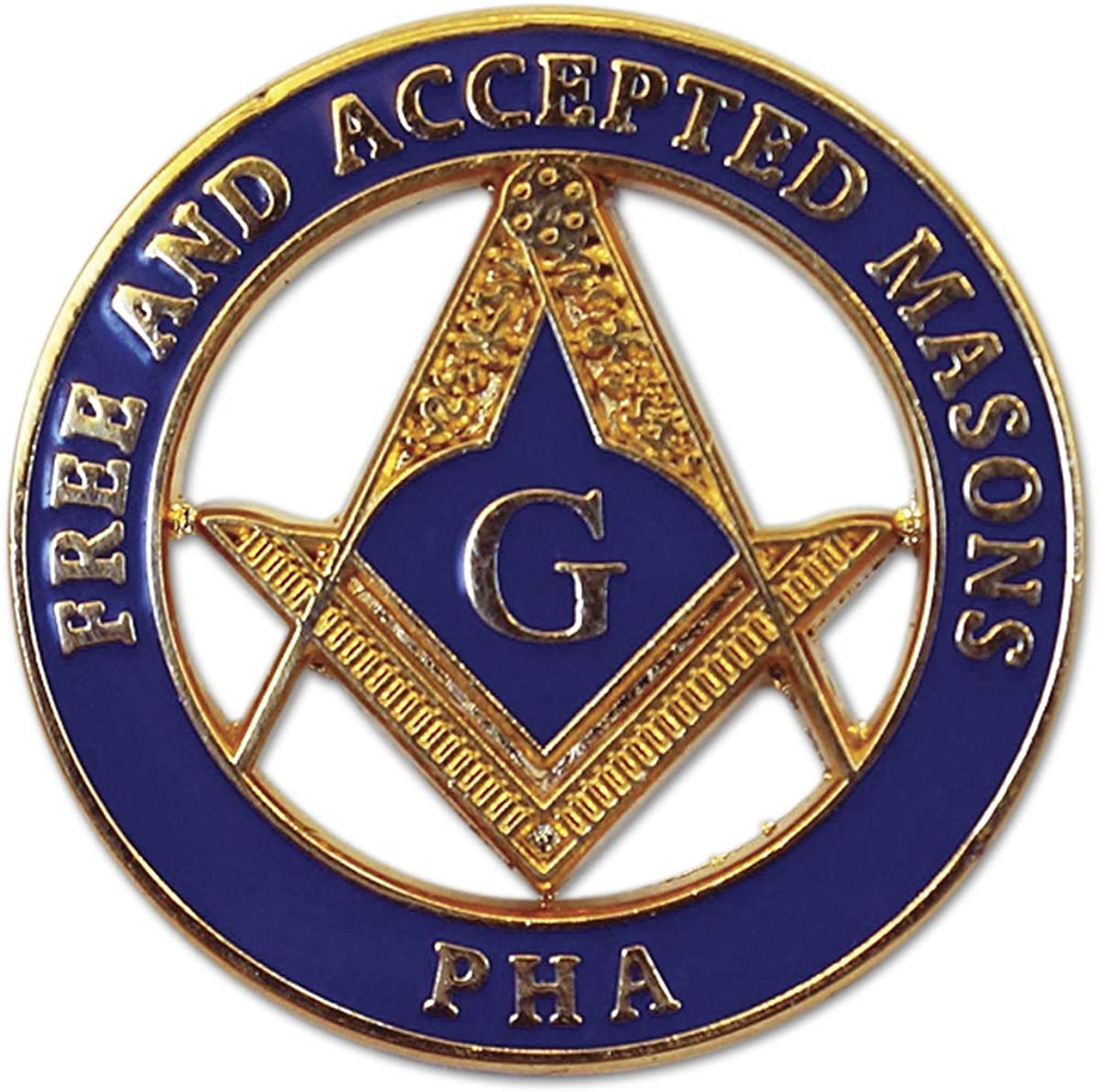 Prince Hall Free & Accepted Masons Round Masonic Lapel Pin - [Blue & Gold][1'' Diameter]