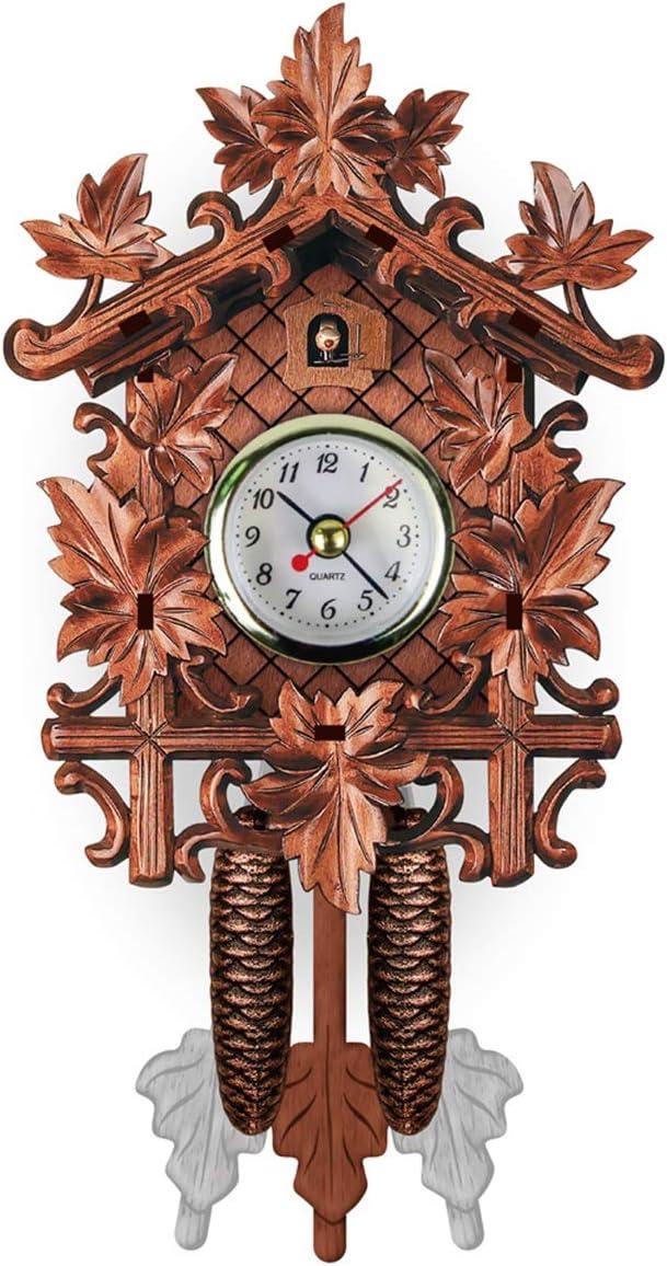 Handmade Wooden Cuckoo Wall Clocks, Swing Coo Coo Vintage Clock Cuckoo Hanging Clock Pendulum Wall Clock for Room Decor Living Room Decor