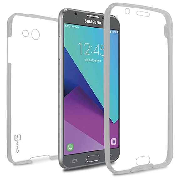 huge discount 88ae2 1b1a8 Galaxy J7 Prime Case, Galaxy J7 Sky Pro Case, Galaxy Halo Case, CoverON  [WrapGuard Series] Full Body Two Piece Ultra Slim Clear TPU Cover for  Samsung ...
