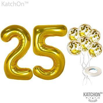 Amazon.com: Globos de confeti número 25 y oro – grandes, 40 ...