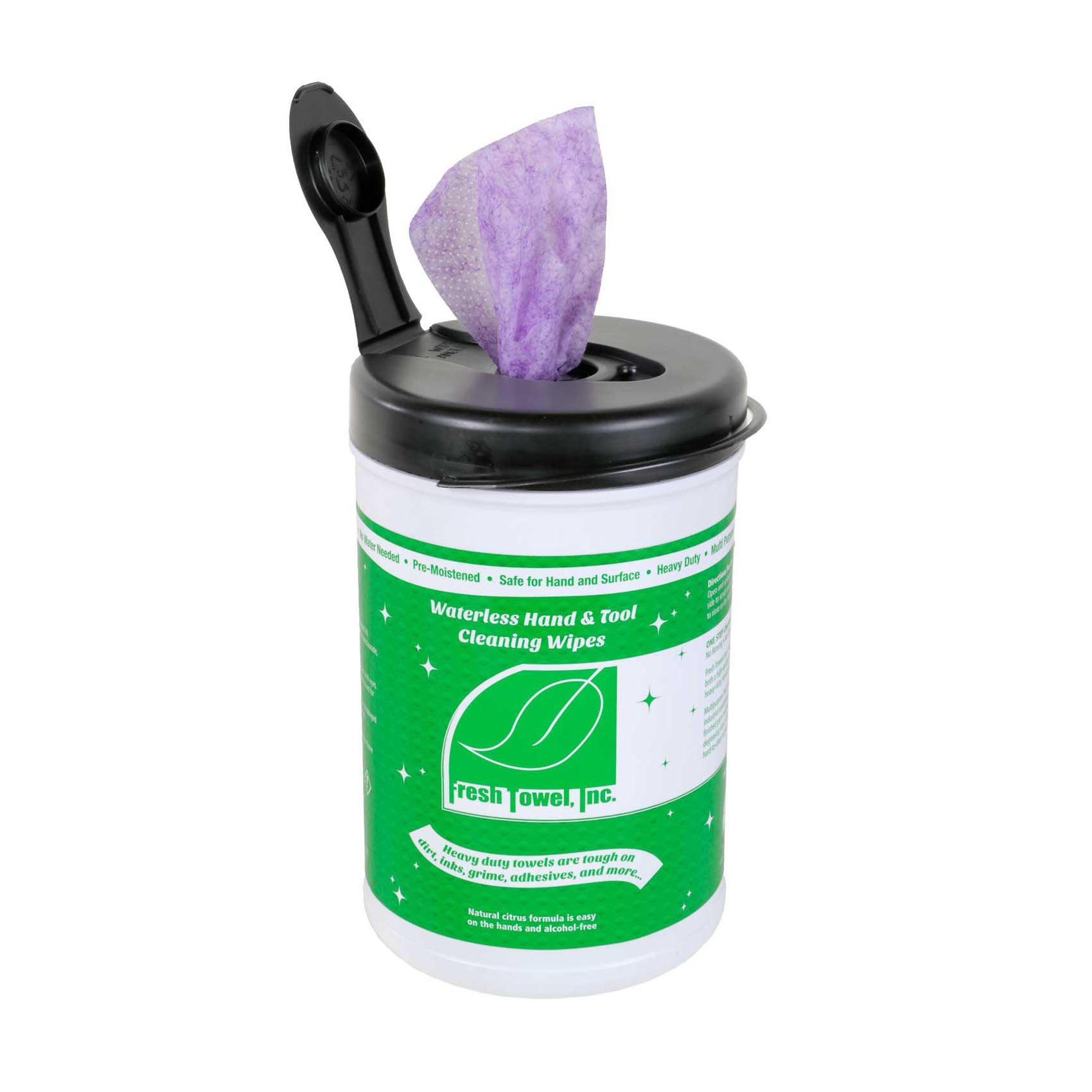 Waterless Hand & Tool Cleaning Wipes, 10'' Width x 12'' Length, Magenta Color (1 Canister of 75 Towels)