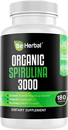 BE HERBAL Organic Spirulina 3000mg Highest Potency Spirulina Powder for Natural Energy Detox Complete Superfood Supplement Packed Antioxidants, Protein Vitamins in Vegan Friendly Capsules