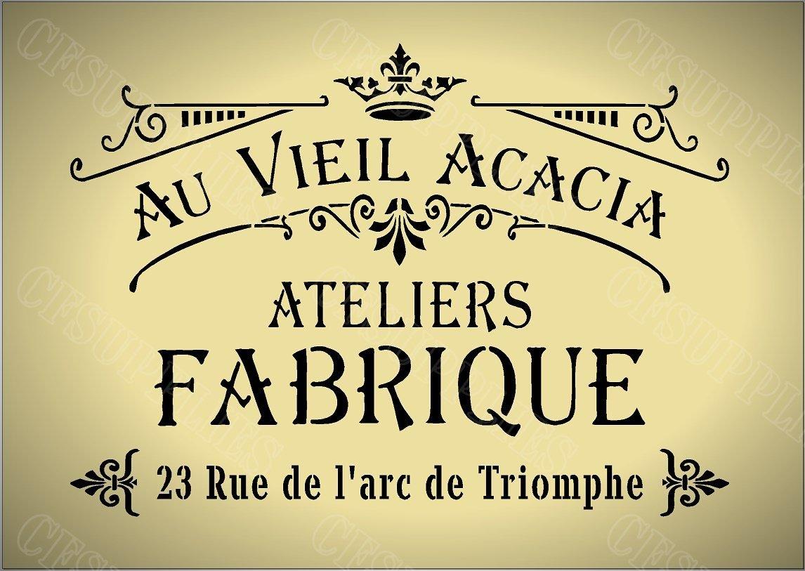 fran/çais r/éutilisable en Mylar *NOUVEAU Plus /épais 190 microns Style shabby chic 142 tissu meubles verre Pochoir A5