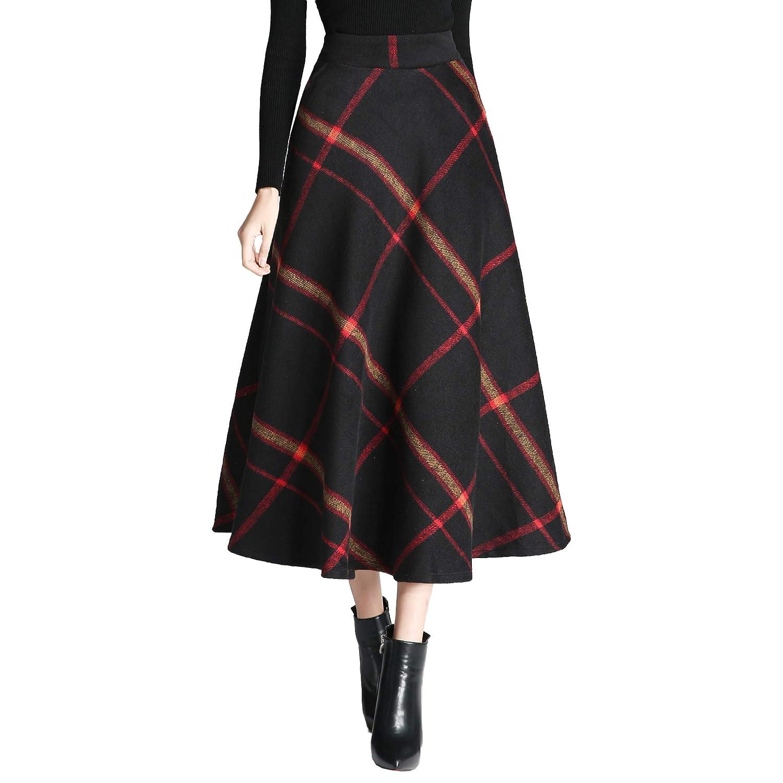 Qz103 Redyellow Nantersan Women's Winter Warm Flare Long Plaid Skirt Hairy High Elastic Waist Maxi Skirt Aline Plaid Skirts