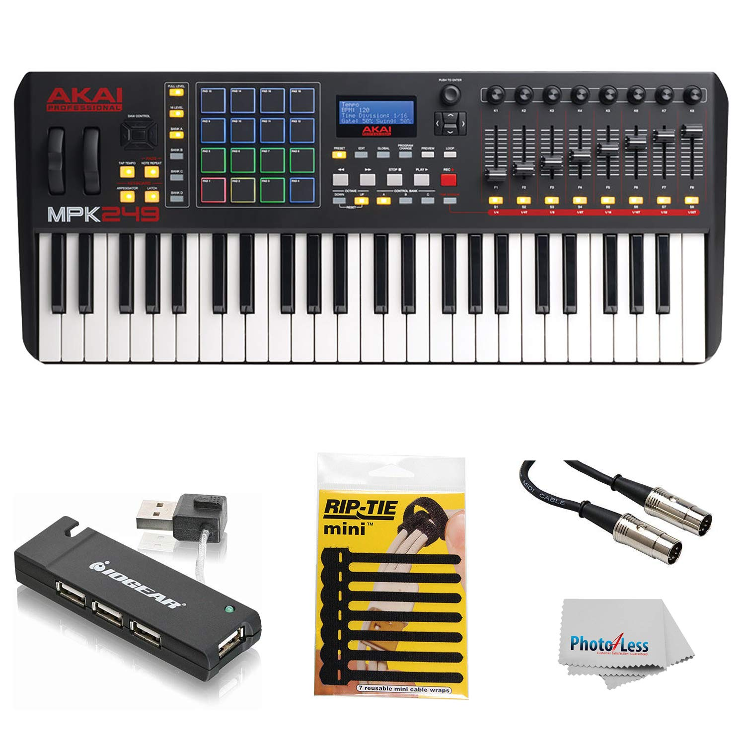 Akai Professional Compact Keyboard Controller (49-Key) with 4-Port USB 2.0 Hub + MIDI Cable Pack of Cable ties & Cleaning Cloth by Akai
