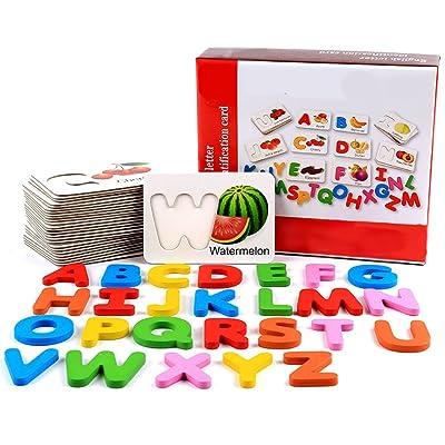 26 letras de madera bloque cognitivo juguetes con 26 frutas palabras tarjetas de aprendizaje juego juguete para bebé preescolar desarrollo en la primera infancia: Oficina y papelería