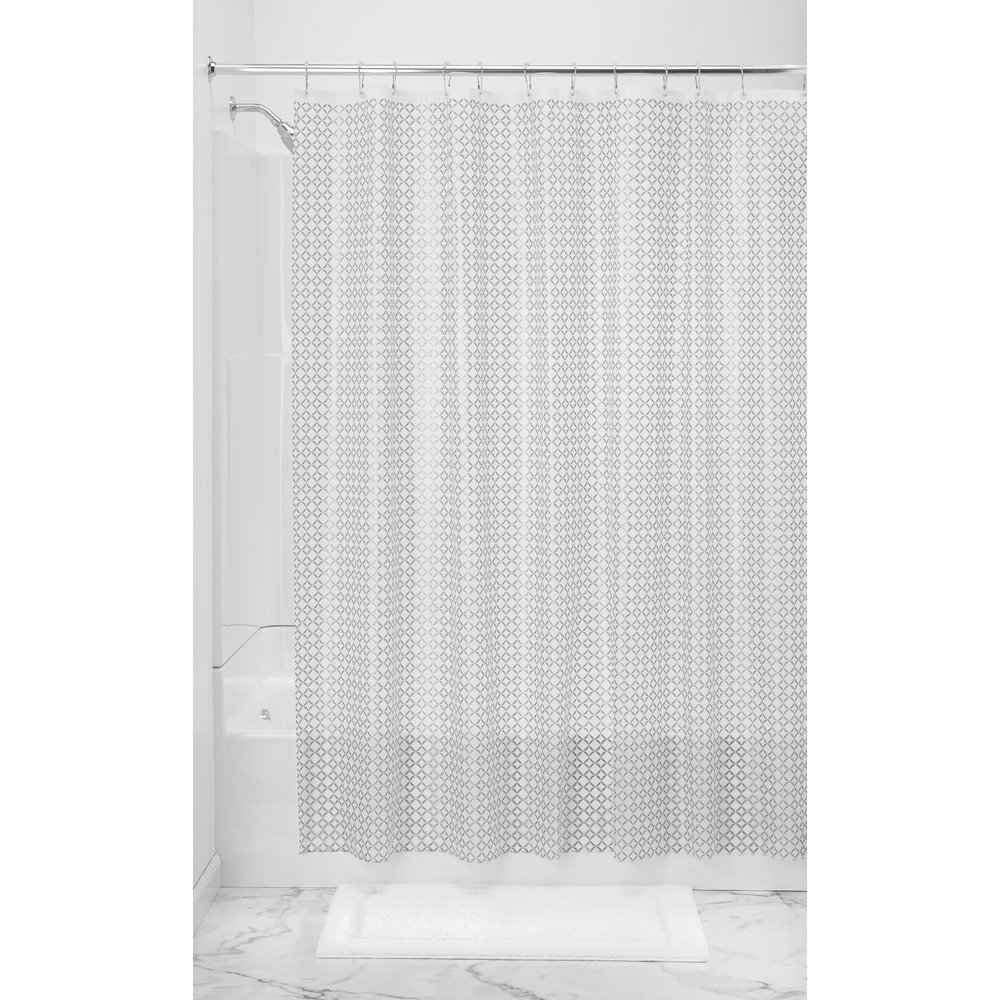 InterDesign Decorative PVC-Free PEVA 3-Gauge Shower Curtain Liner, 183 x 183 cm - Addie, Silver 35980
