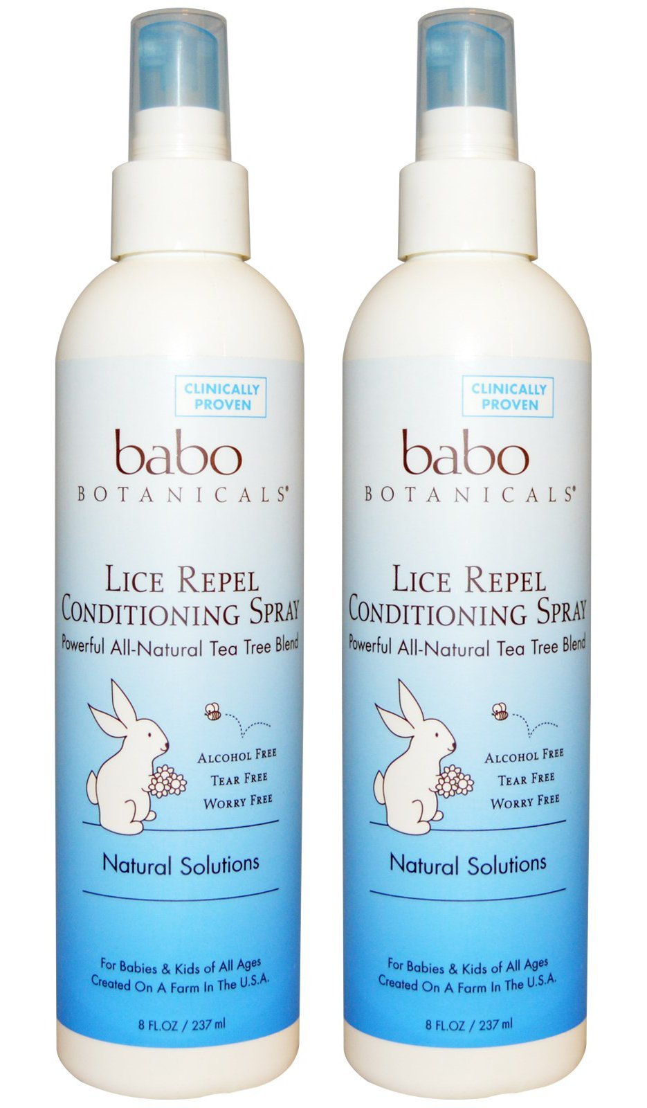 Babo Botanicals Lice Repel Conditioning Spray, Powerful All-Natural Tea Tree Blend, With Calendula, Meadowsweet and Chamomile, 8 fl. oz. (Pack of 2)