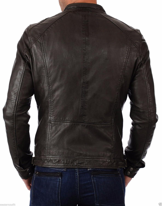 Brand Me Mens Genuine Leather Pure Lambskin Biker Jacket BM006