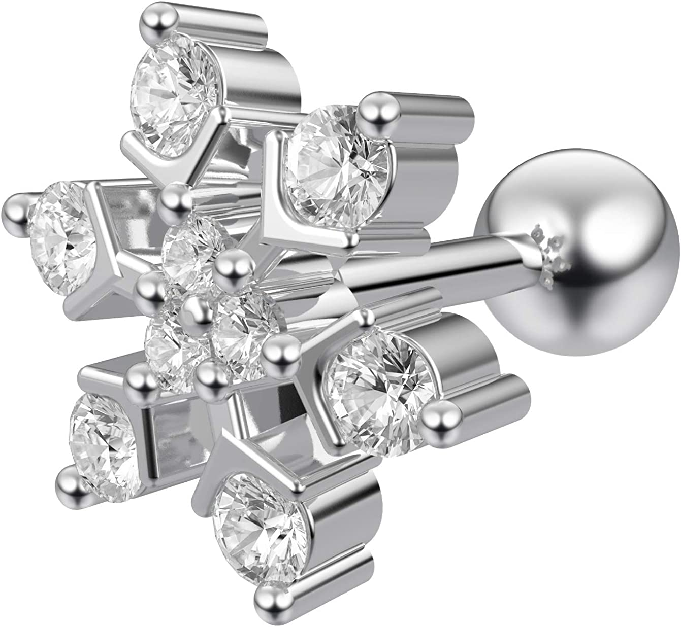 Bling Piercing 2pc 16g 1/4 Cartilage Earring Stud CZ Snowflake Barbell Helix Tragus Lobe Auricle Surgical Steel