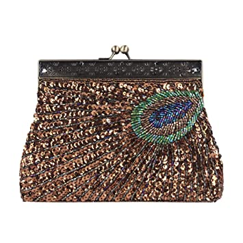 Mini Cartera Mujeres embrague, vintage Peacock antiguo con ...