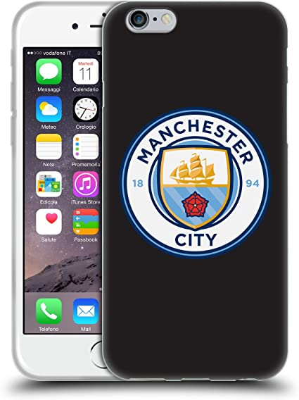 Head Case Designs sous Licence Officielle Manchester City Man City FC Couleur Pleine Noire Badge Coque en Gel Doux Compatible avec Apple iPhone 6 / ...