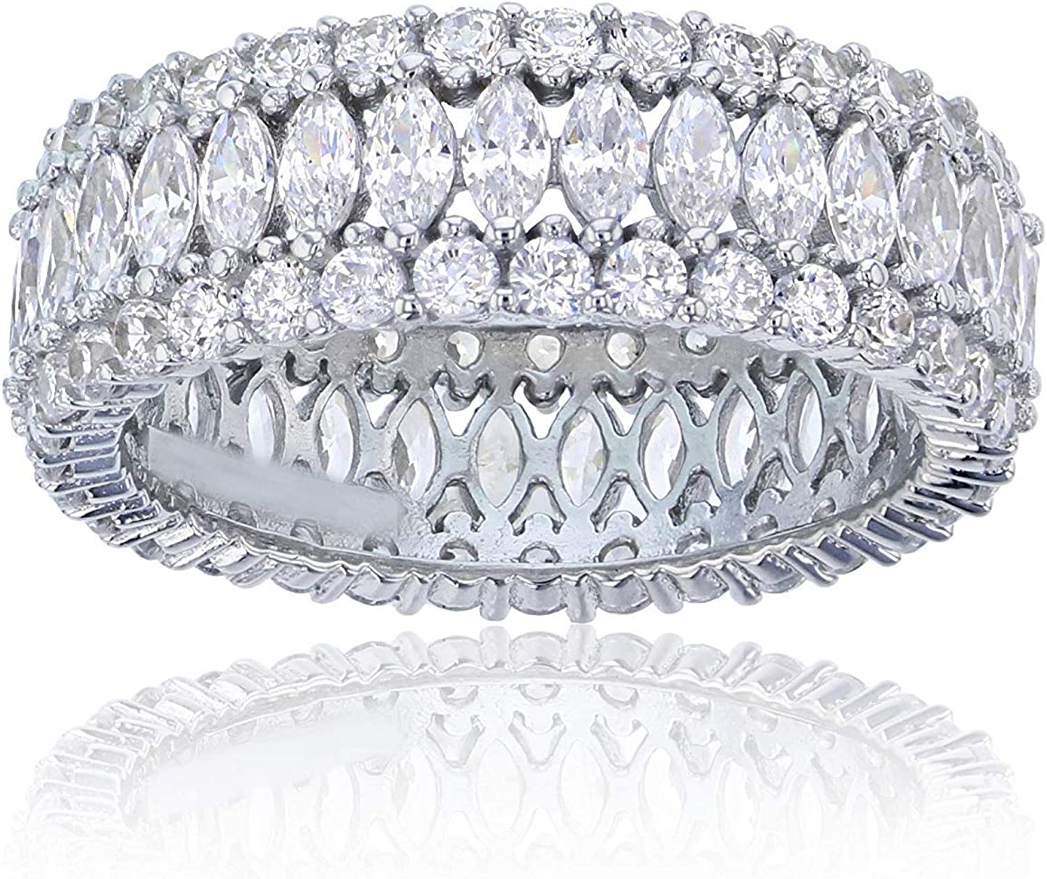 Sterling Silver Rhodium Marquise Cut Eternity Ring