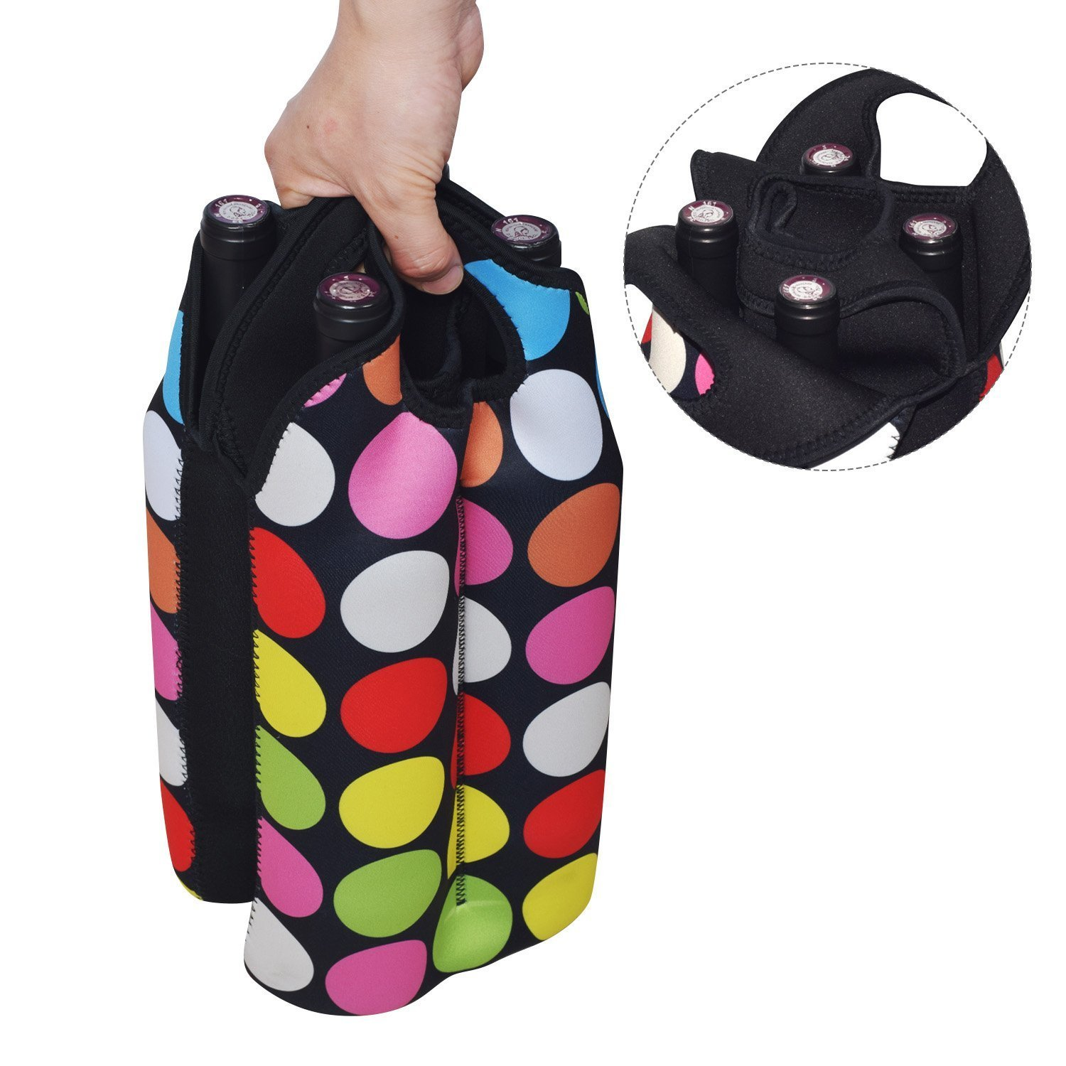 Zoresyn 2-Bottle Neoprene Wine/Water Bottle Tote/ wine bag for Wine/Champagne/ Beverages,Containers,Soft Drinks,Sodas,Sports Water Bottles,Baby Bottles sz-99