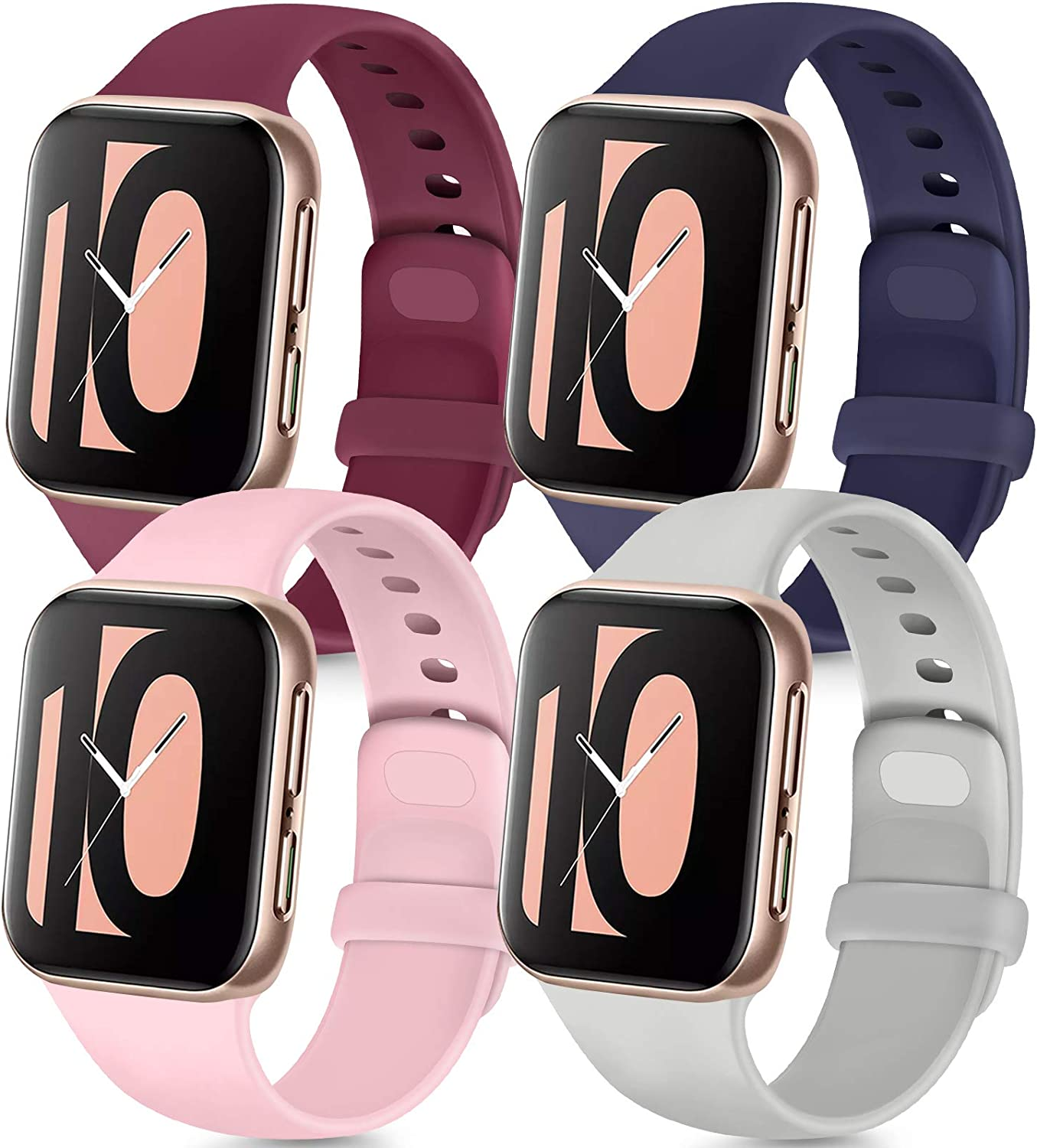 Tobfit 4 Pack Compatible with Apple Watch Band 38mm 42mm 40mm 44mm, Soft Silicone Replacement Band Compatible with iWatch Series 6 5 4 3 SE (Gray/Wine Red/Pink/Navy Blue, 42mm/44mm S/M)