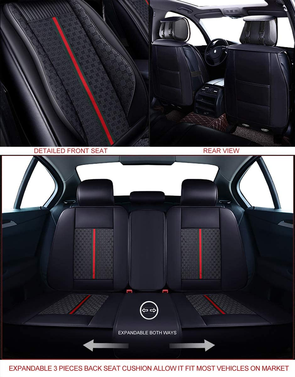 Full Set, Brown Faux Leatherette Automotive Vehicle Cushion Cover for Cars SUV Pick-up Truck Universal Fit Set for Auto Interior Accessories OASIS AUTO OS-007 Leather Car Seat Covers