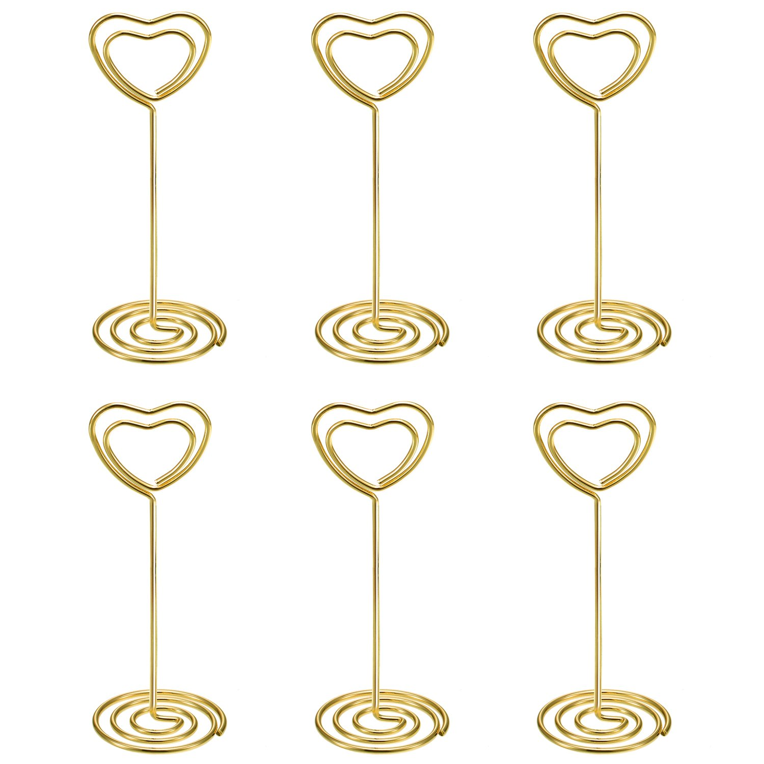 Shappy 24 Pack of Table Number Card Holders Photo Holder Stand Place Card Paper Menu Clips Holders, Heart Shape (Gold)