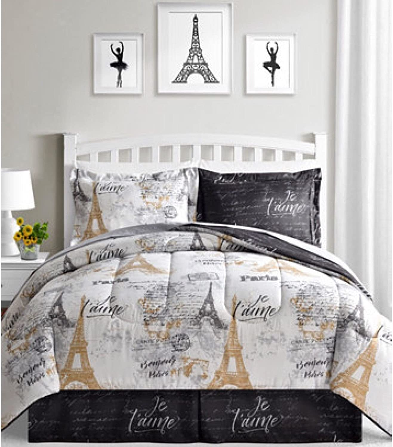 Amazon Com Bonjour Paris Eiffel Tower Black White Gold