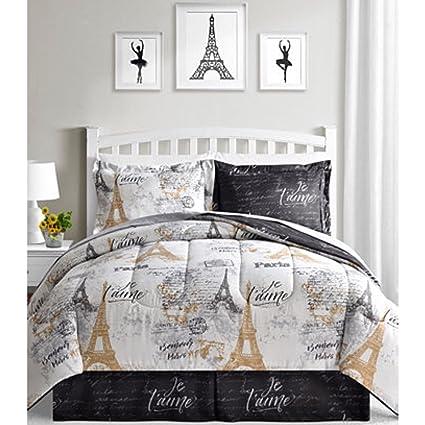 Amazon Com Bonjour Paris Eiffel Tower Black White Gold