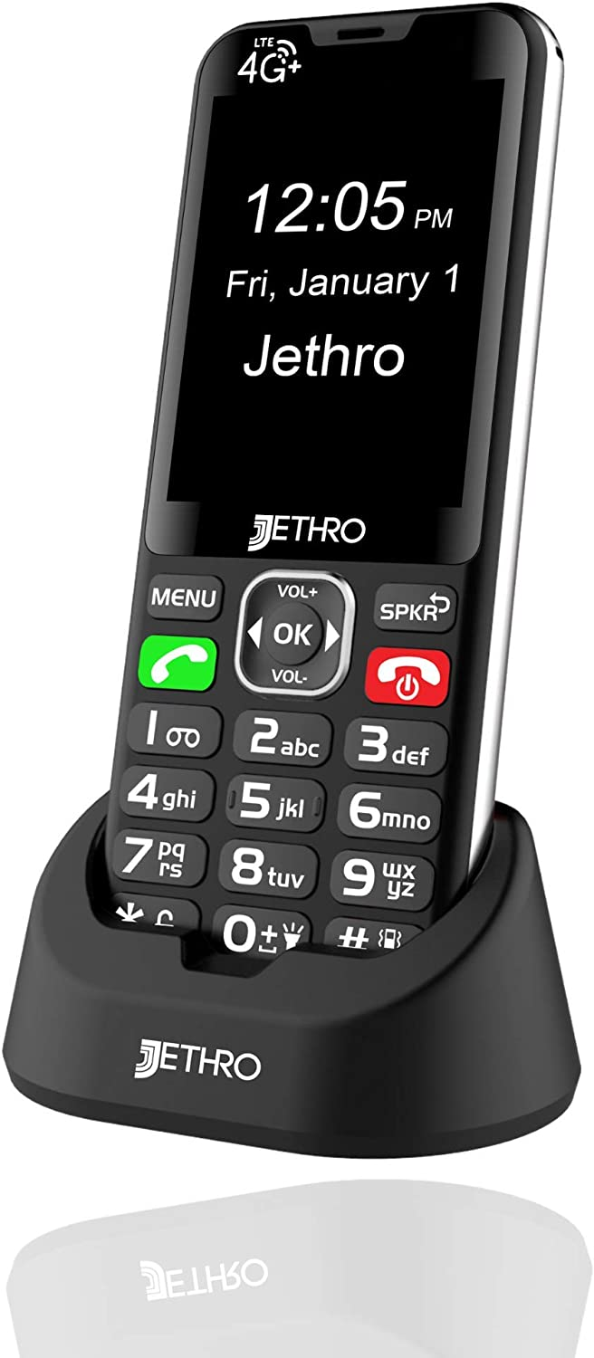 Jethro SC490 4G Unlocked Bar Style Senior Cell Phone for Elderly & Kids, Big Screen and Large Buttons, Hearing Aid Compatible with Charging Dock, FCC Certified.