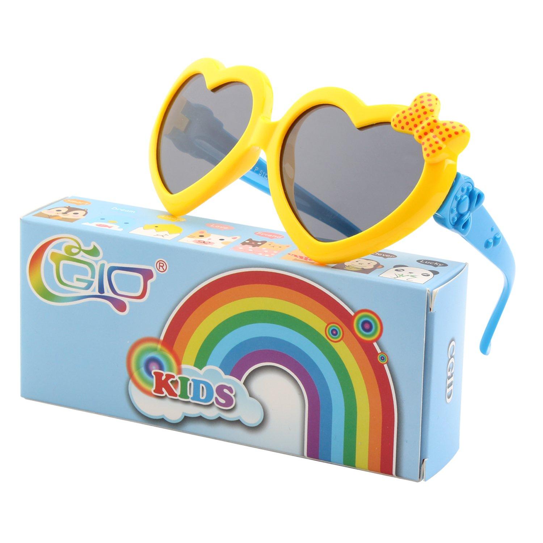 CGID Occhiali Da Sole Polarizzati Gomma Morbida a Forma di Cuore per Bambini Protezione UV400 100% con Cornice Flessibile per Bambini Ragazzi e Ragazze dai 3 ai 10 anni, K78 18UKET878-1