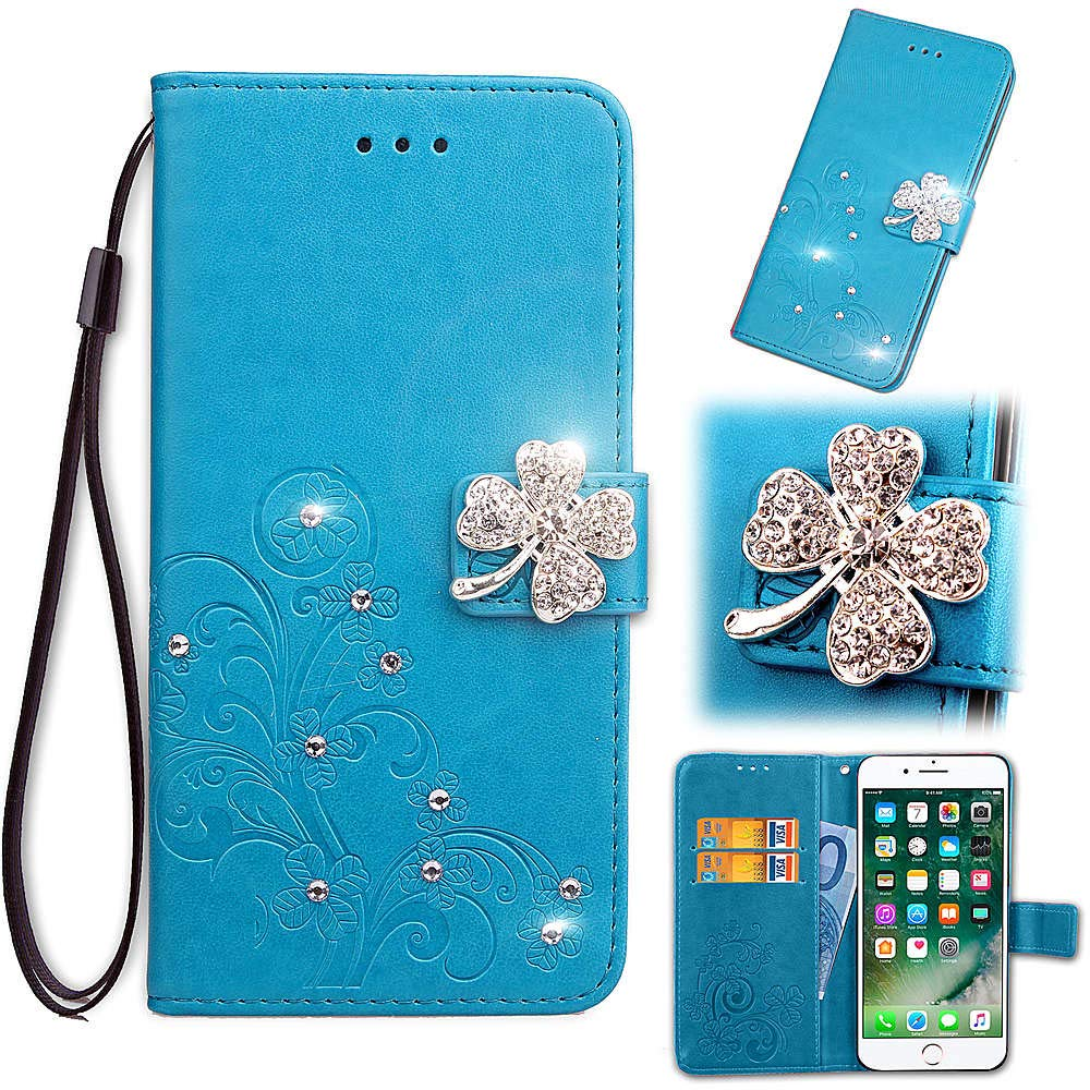 Find box for Motorola Moto E5 Plus Case, [Flower Bling Embossing][Wallet Stand] [Flower Embossing] Protective Phone Bling Case Leather Protective Flip Wallet Case for Motorola Moto E5 Plus Blue