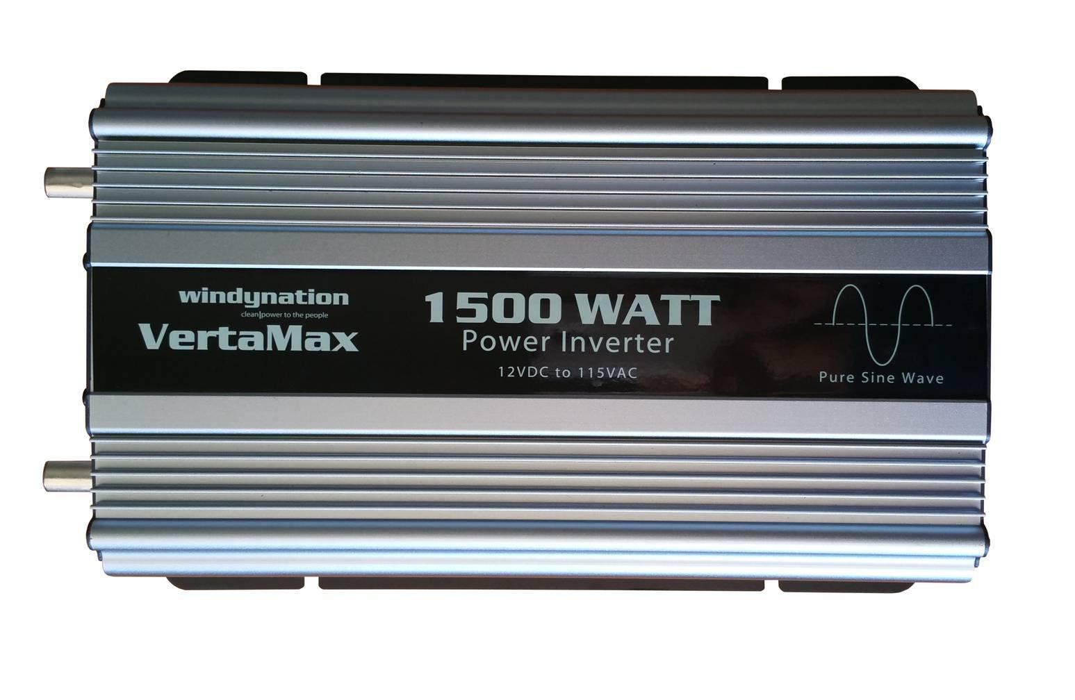 VertaMax PURE SINE WAVE 1500 Watt (3000W Surge) 12V Power Inverter DC to 115 AC Car, Solar, Off-Grid, RV, Back Up Power by WindyNation (Image #4)