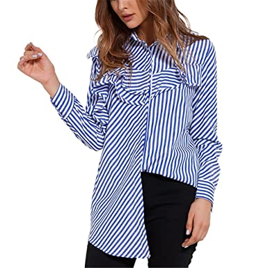 Women Tops Blouses Spring Blue and White Striped Shirt Long Sleeve Collar Ruffle Blouse Womens Clothing