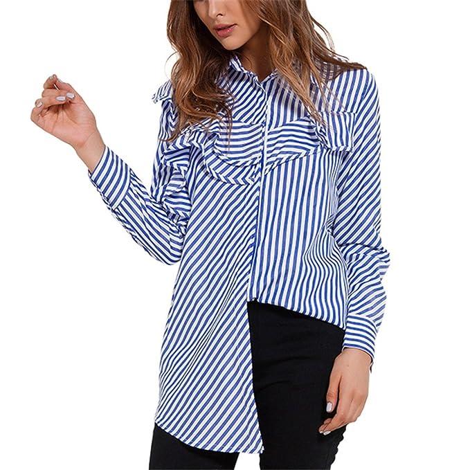 Taiziwei Women Tops Blouses Spring Blue and White Striped Shirt Long Sleeve Collar Ruffle Blouse Womens Clothing at Amazon Womens Clothing store: