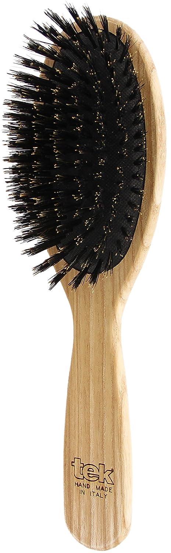 Tek brosse à cheveux ovale en bois de frêne avec poils de sanglier - 100% fabriquée en Italie Tek s.r.l.