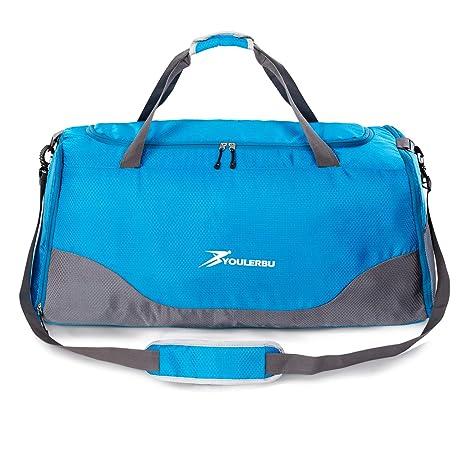 05dc01b336 Youlerbu 70L grande borsone pieghevole con tasca impermeabile, borsa da  palestra con compartimento per scarpe