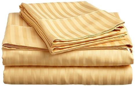 Tula Linen 300 Hilos Juego de sábanas de 4 Piezas (Dorado, UK pequeña Sola