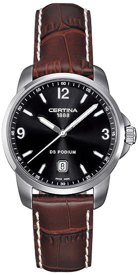 Certina C001.410.16.057.00 DS Podium - Reloj Analógico de Cuarzo para Hombre, Correa de Cuero Marrón: Amazon.es: Relojes