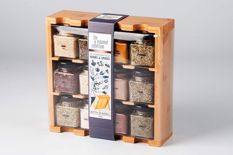 Especiero de madera con 12 especias en frascos de vidrio: Amazon.es: Hogar