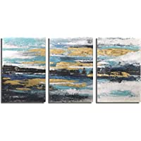 Paimuni Blue Abstract Modern Canvas Print 3 Panel with Embellishment Gold Foil Wall Pictures for Home Decoration, Ready…