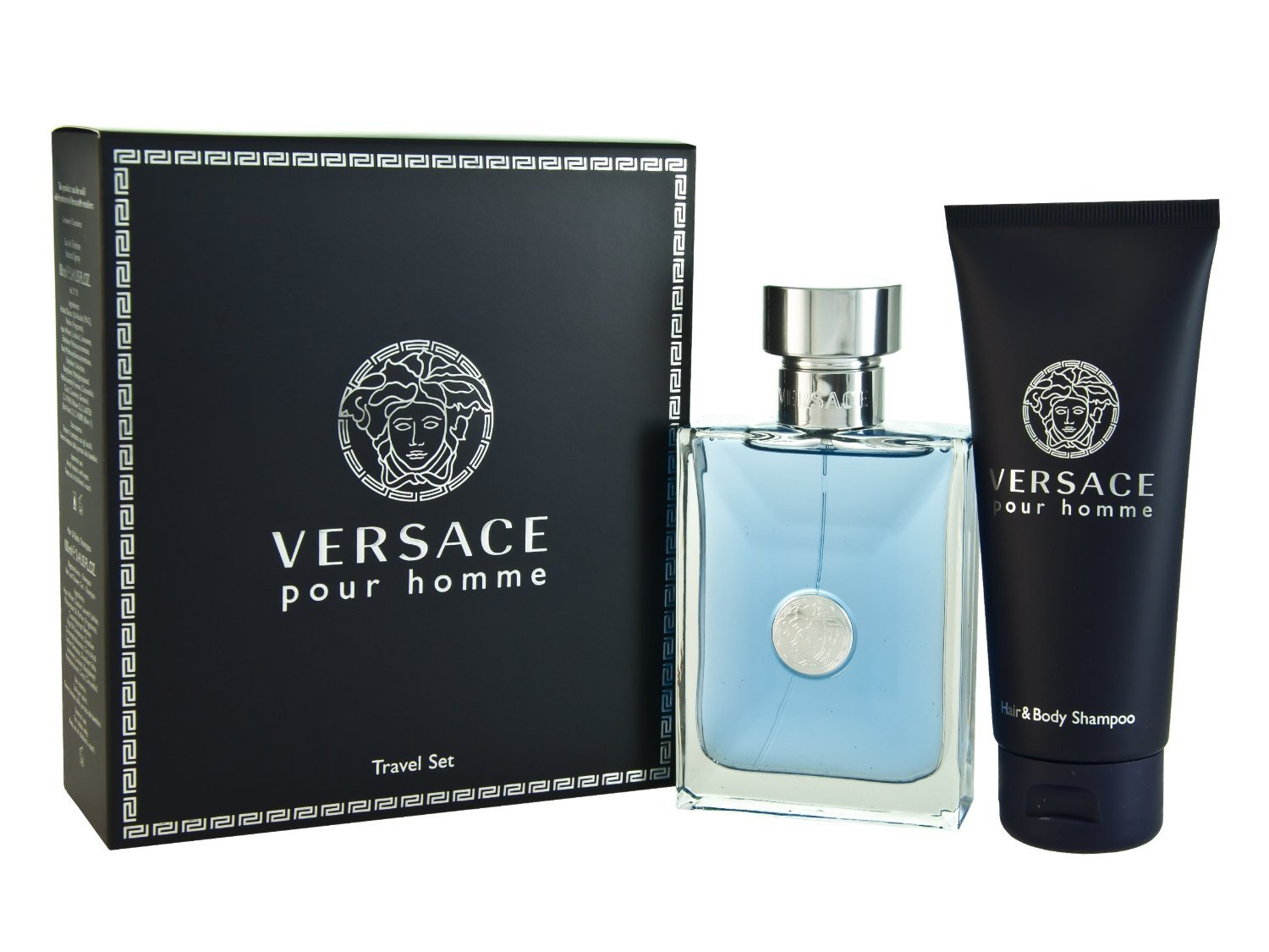 Versace Pour Homme for Men-2 Pc Gift Set 3.4-Ounce EDT Spray, 3.4-Ounce Hair and Body Shampoo VER720074