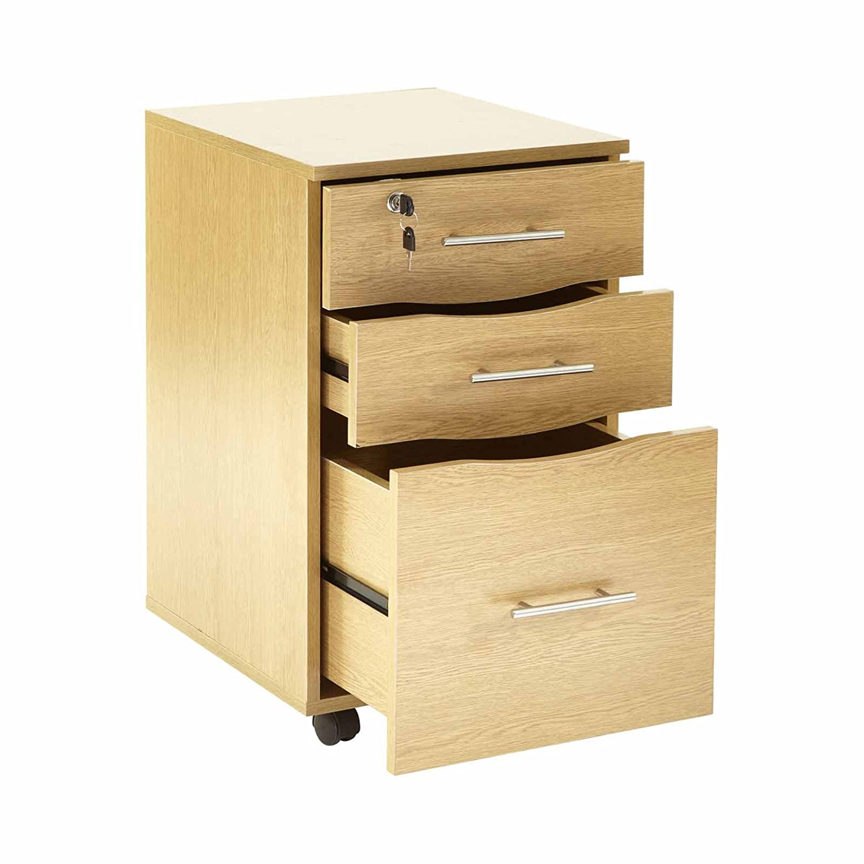 Cassettiera per scrivania, 3 cassetti, con serratura, dimensioni 40cm x 44cm x 65cm (larghezza x profondità x altezza) MMT SD-IV05