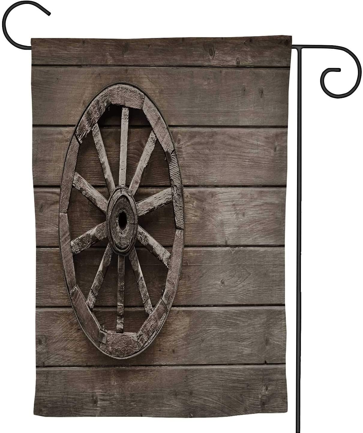 Old Wooden Wagon Wheel on The Wall of a barn,Welcome Garden Flag Double Sided Farmhouse Burlap Yard Outdoor Decoration 28''x40''