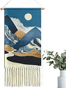 Alynsehom Woven Wall Hanging Macrame Moon Tapestry Blue Boho Wall Art Decor Chic Home Bohemian Tapestries Sun Mountain Cloud Aztec Apartment Dorm Room Backdrop Decoration
